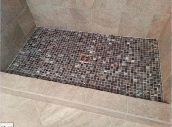 CUstom Shower FLoor - Glass mosaic tiled