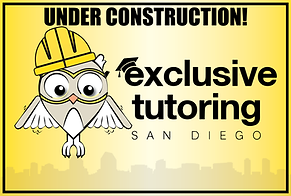 exclusive tutoring SD unde construction logo. pending work