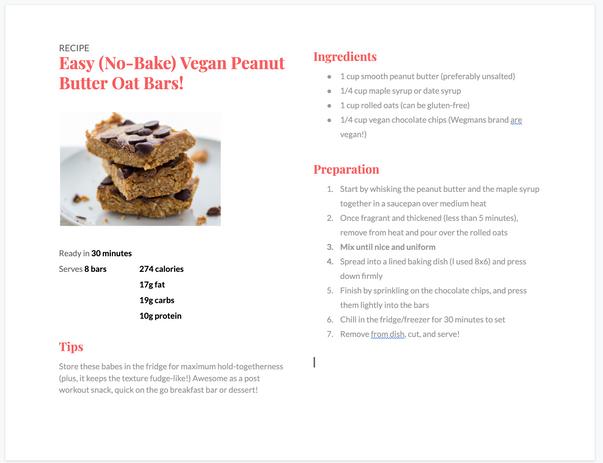 Easy (No Bake) peanut butter oat bars