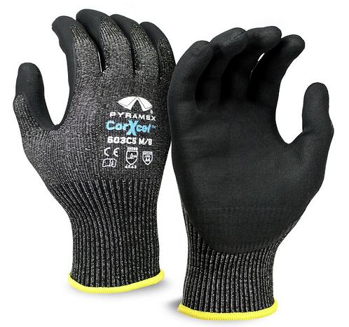 Pyramex All-Black Micro Foam Nitrile Gloves, GL603C5 Series