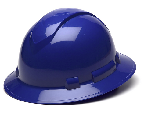 Pyramex Ridgeline Full Brim Hard Hat - 4 or 6-Point Ratchet Suspension