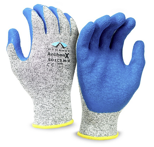 Pyramex Crinkle Latex Gloves, GL501C5 Series