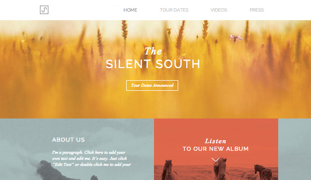Band website templates – Indie Folk