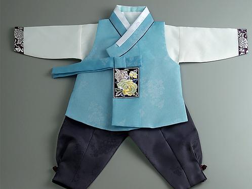 男子韓服 牡丹刺繍 ブルー 1歳