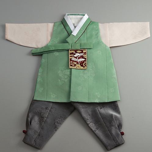 男子韓服 鶴刺繍 グリーン 3号
