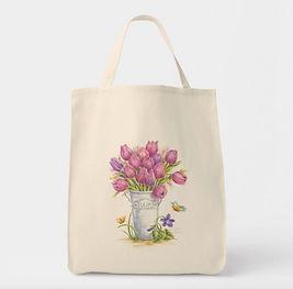 Tulip Bouquet in Pail Tote | Audrey Designs