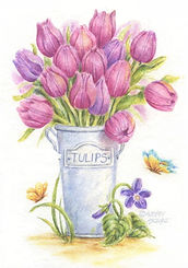 Tulips in Pail Card   Audrey Designs
