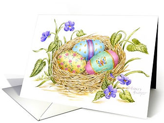 Easter Painted Eggs in Nest