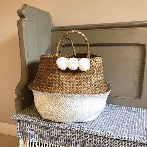 White pom pom basket (Large)