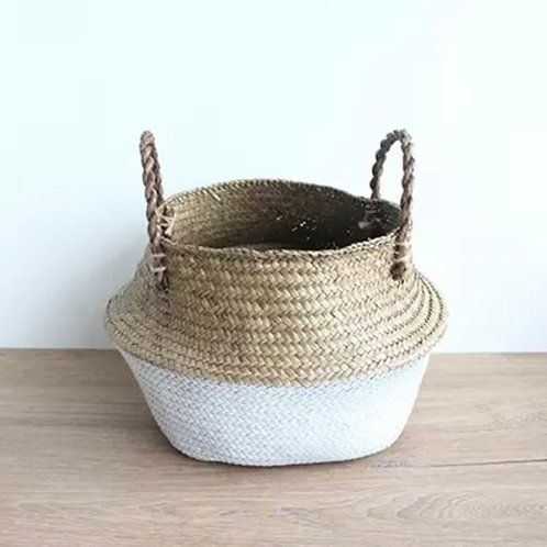 White and natural seagrass basket (Large)