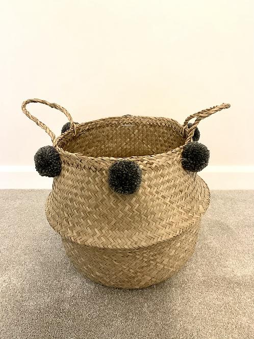 Dark grey pom pom basket