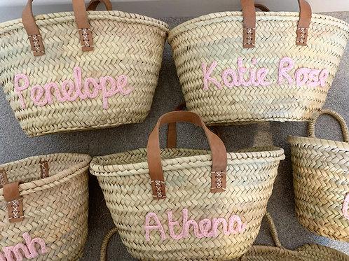 Bespoke children's basket (leather handle)