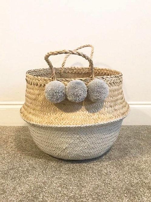 Grey pom pom basket (Large)