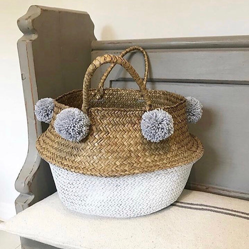 Grey and white pom pom basket (Large)
