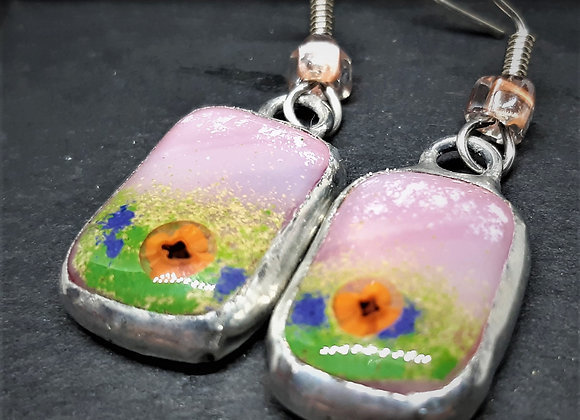 Sedona Sky - Blown painted glass earrings