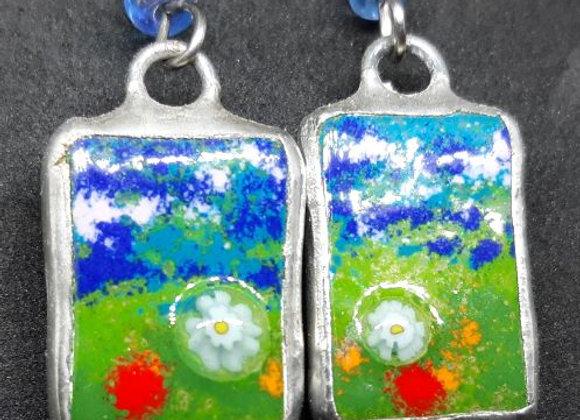 Impressionist Earring - Enamel painted glass