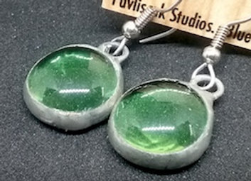Peridote Green Glass Droplet Earring