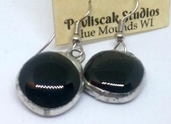 Shiny Black Glass Droplet Earring