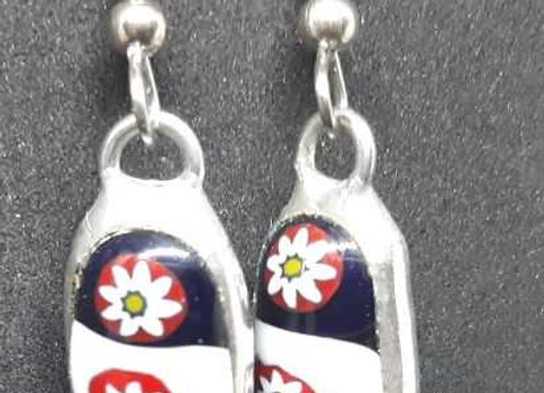 Flower Murrini Glass Droplet earrings by Pavliscak Studios