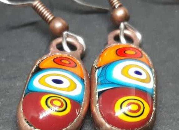 Harvest color Murrini glass droplet earrings by Pavliscak Studios