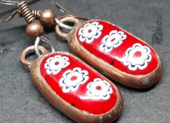 White flowers on red Melted murrini Earrings by Pavliscak Studios