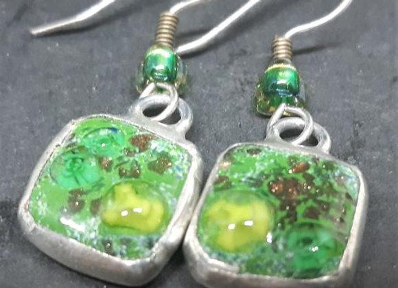 Mystical Fairie Garden - Blown painted glass earrings