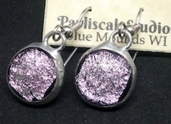 Pink Dichroic, Glass Droplet Earring