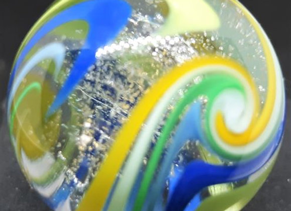 UV Torsion - Blue Green, silver and gold marble by George Pavliscak