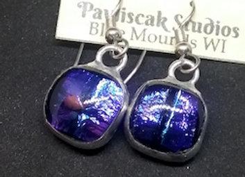 Dichroic, Indigo or Purple, Glass Droplet Earring