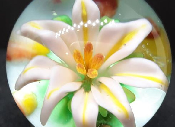 Pink Lily with Yellow Stamen glass flower marble by George Pavliscak