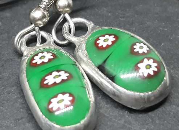 Happy Elf Flower Murrini Glass droplet earrings by Pavliscak Studios