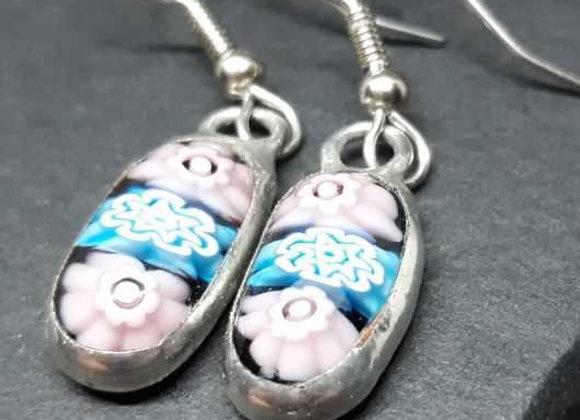 Purple and Blue Flower Murrini Cane earrings