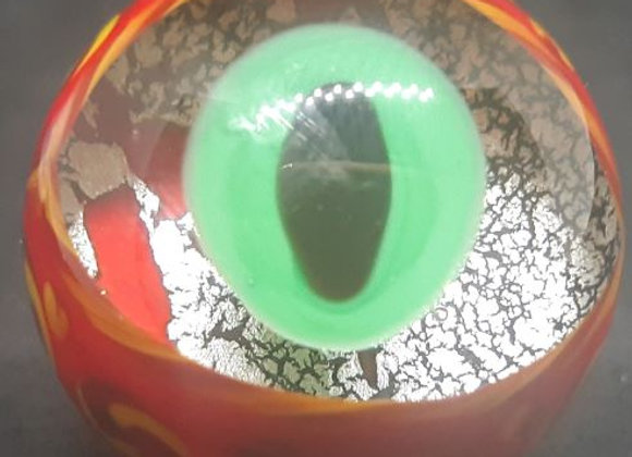 Red Monster eye Glass Marble by George Pavliscak