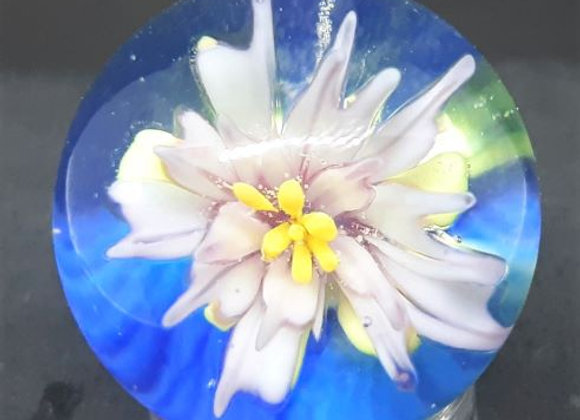 Marble - Pointy Petal Pink Flower - On Blue Background