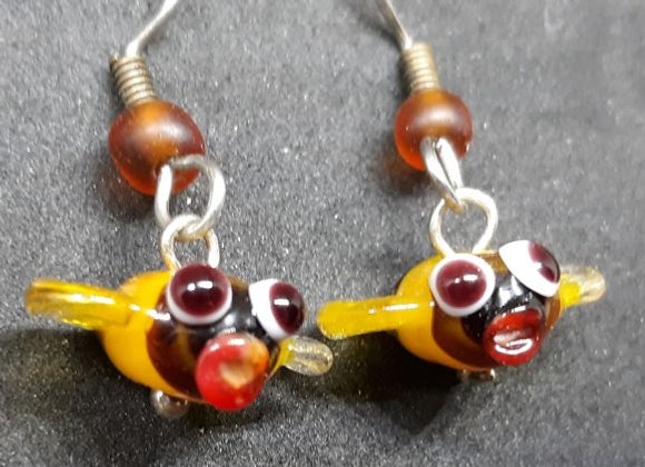 Blown glass bee bead earrings by Pavliscak Studios