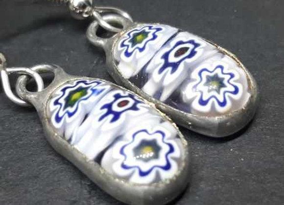 Blue and white murrini flower glass droplet earrings byPavliscak Studios