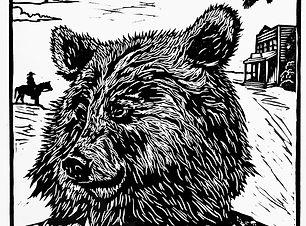Virgil, a relief print of a bear by Amanda Palmer