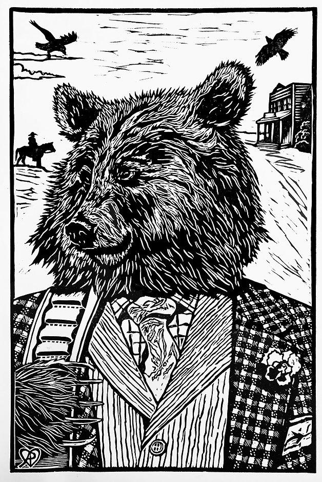 Virgil, a relief print of a bear by Amanda Palmer.