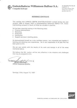Larikov Reference Certificate Embotellad