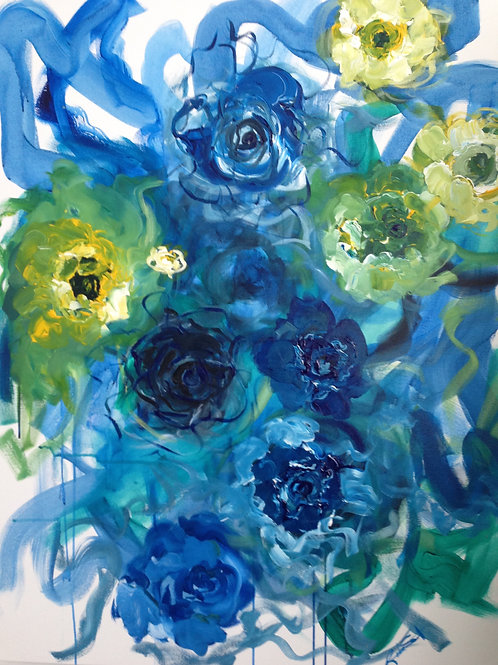 Blue and Yellow Peony