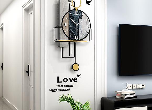 MEISD Designer Vintage Watch With Pendulum Wall Quartz Clock
