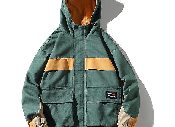 Streetwear Jackets Men Big Size Hooded Casual Loose Print Windbreaker