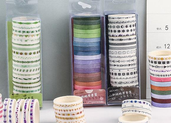20pcs/Pack Multi-Color Washi Tape Scrapbooking Decorative Adhesive Tapes