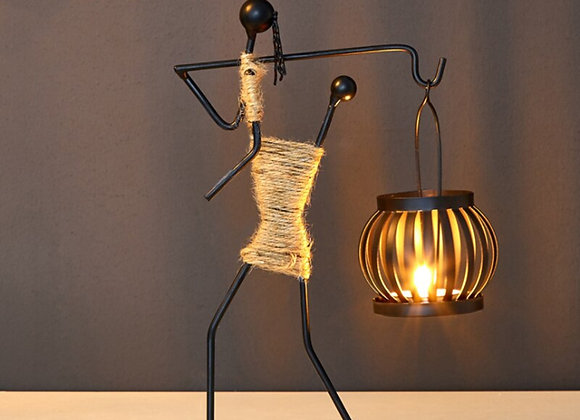 Nordic Metal Candlestick Abstract Character Sculpture Candle  Holder