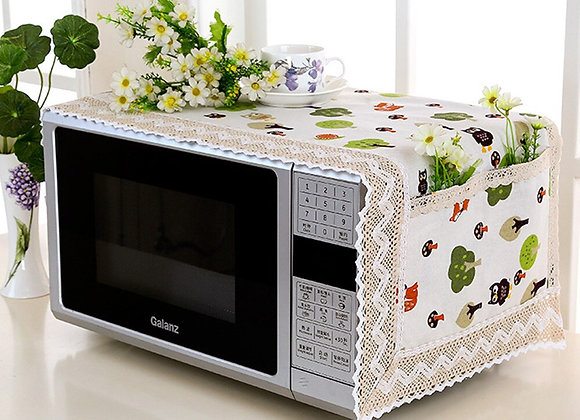Flax Printing Dust Cover Hood Microwave Cover