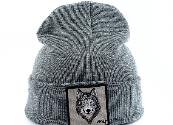 Mens Beanie Animal Wolf Embroidery Winter Hats