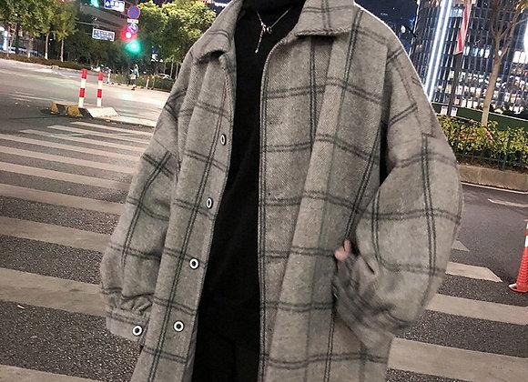 LAPPSTER Korean Style Plaid Overcoat