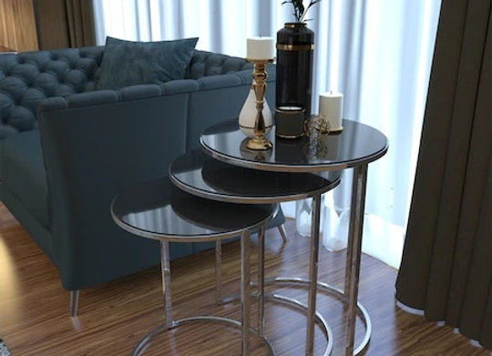 Hausev Mirrored Silver Metal Zi̇gon Coffee Table