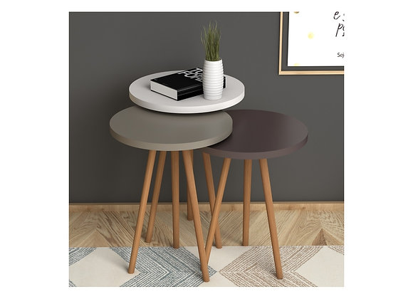Mount Coffee Table Roman Nesting Table- White / Cappuccino / Brown