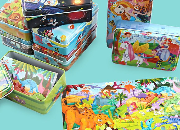 60 Pieces Wooden Puzzle Toys for Children Cartoon Animal